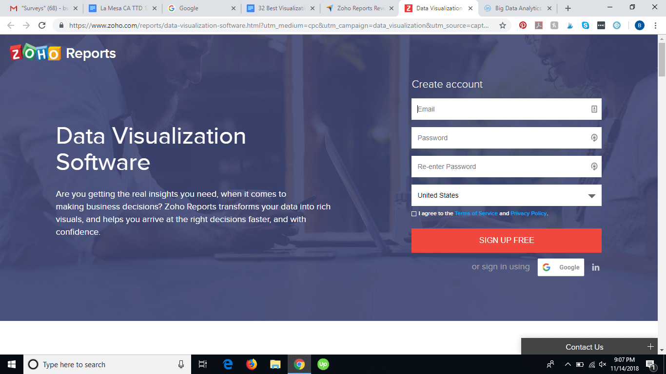 Zoho's homepage