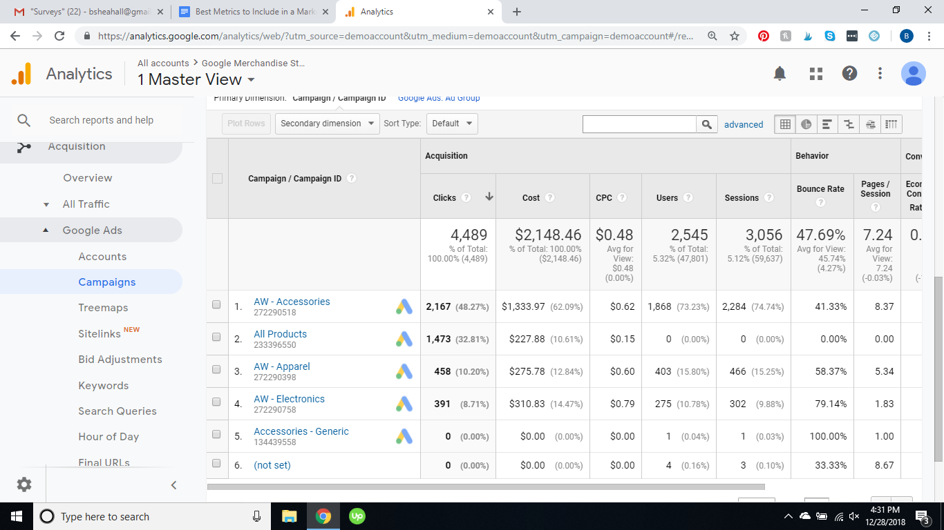 PPC Campaigns report in Google Analytics