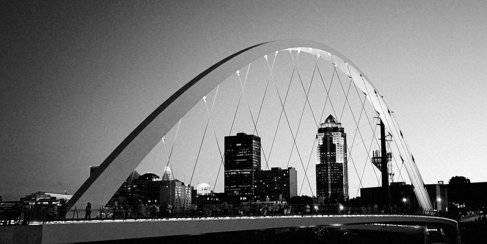 Des Moines Iowa Skyline Bridge
