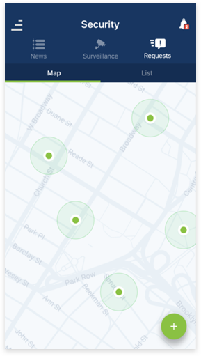 Security App Interface - Map
