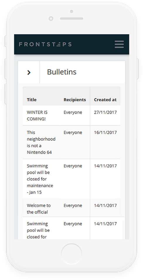Mobile Bulletin Board Interface