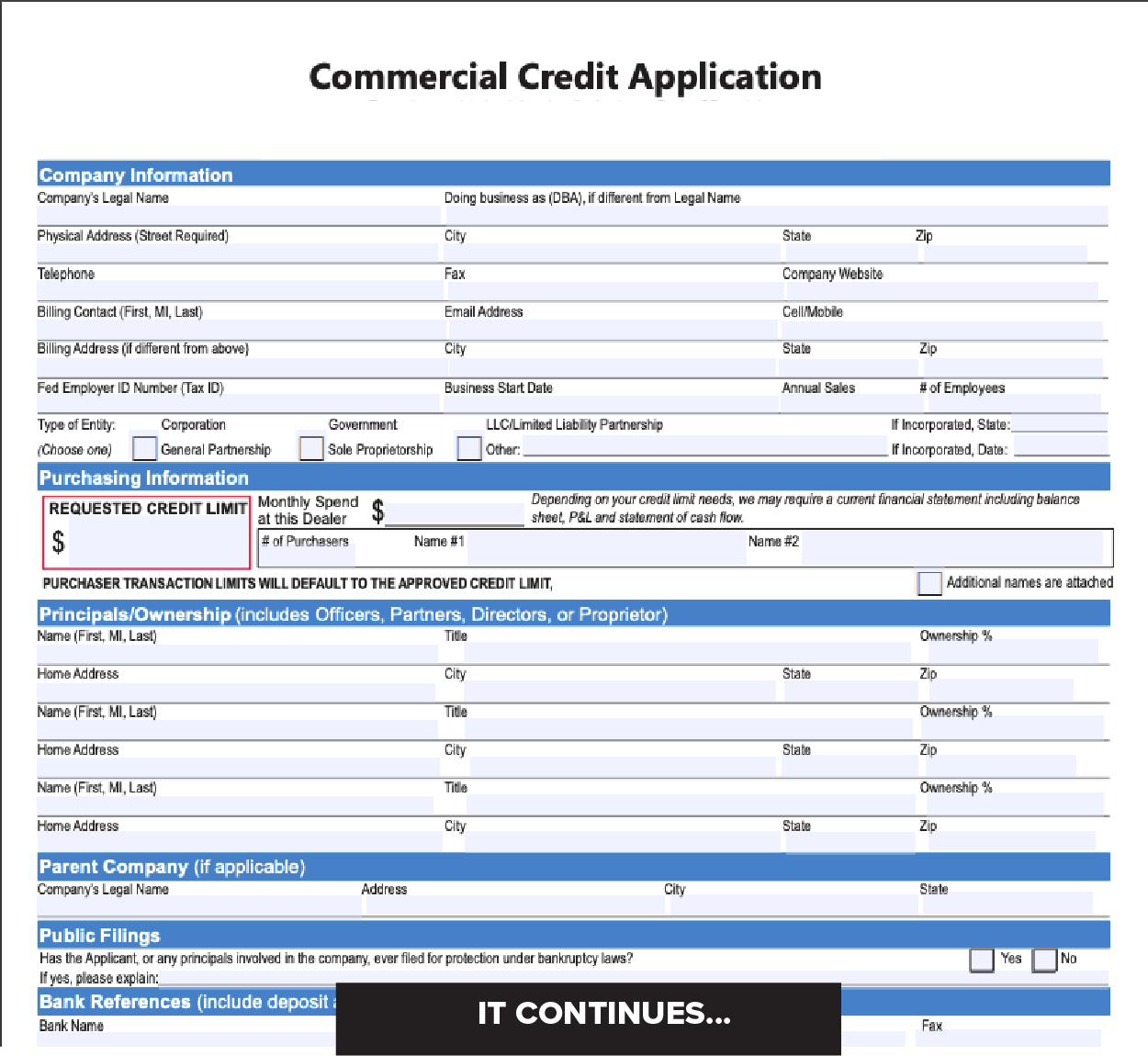 Credit Application for a business