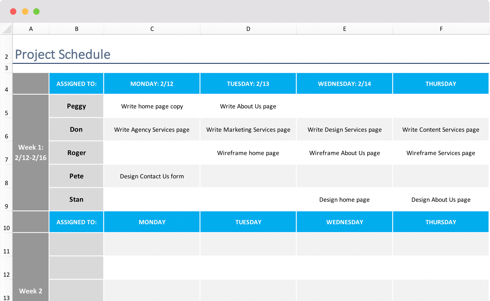 Project schedule template sample