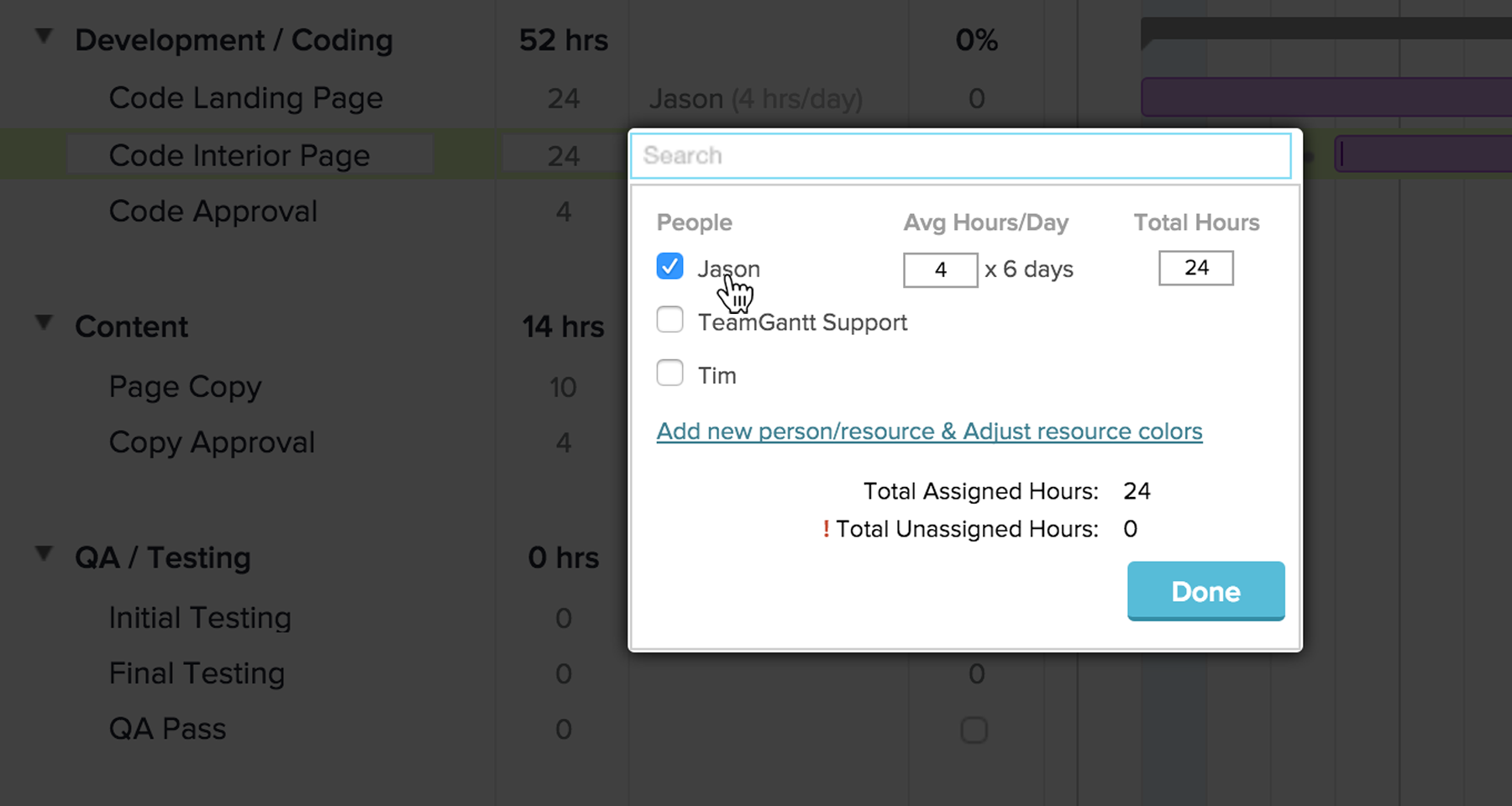Assigning Resources in TeamGantt