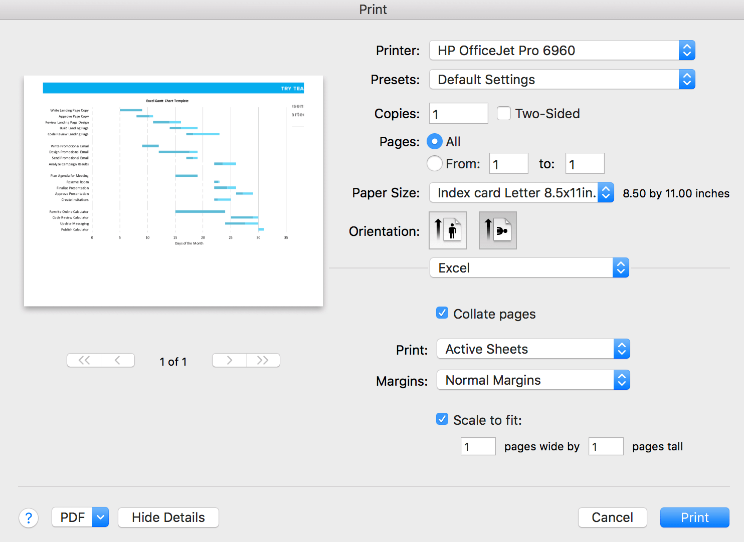 gantt chart printer settings