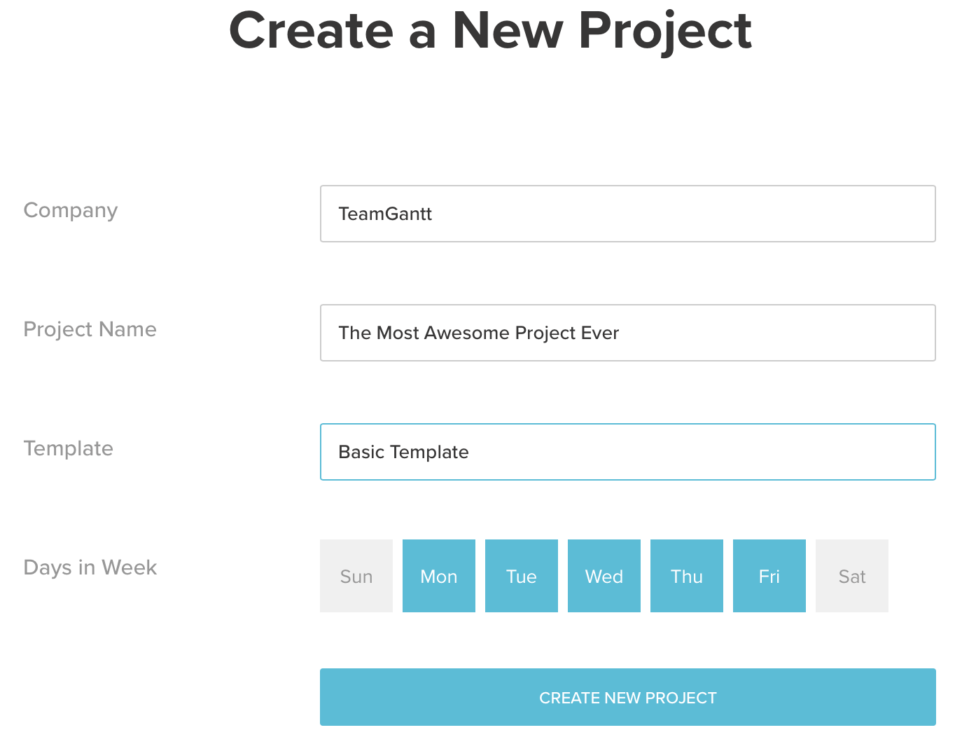new project in teamgantt