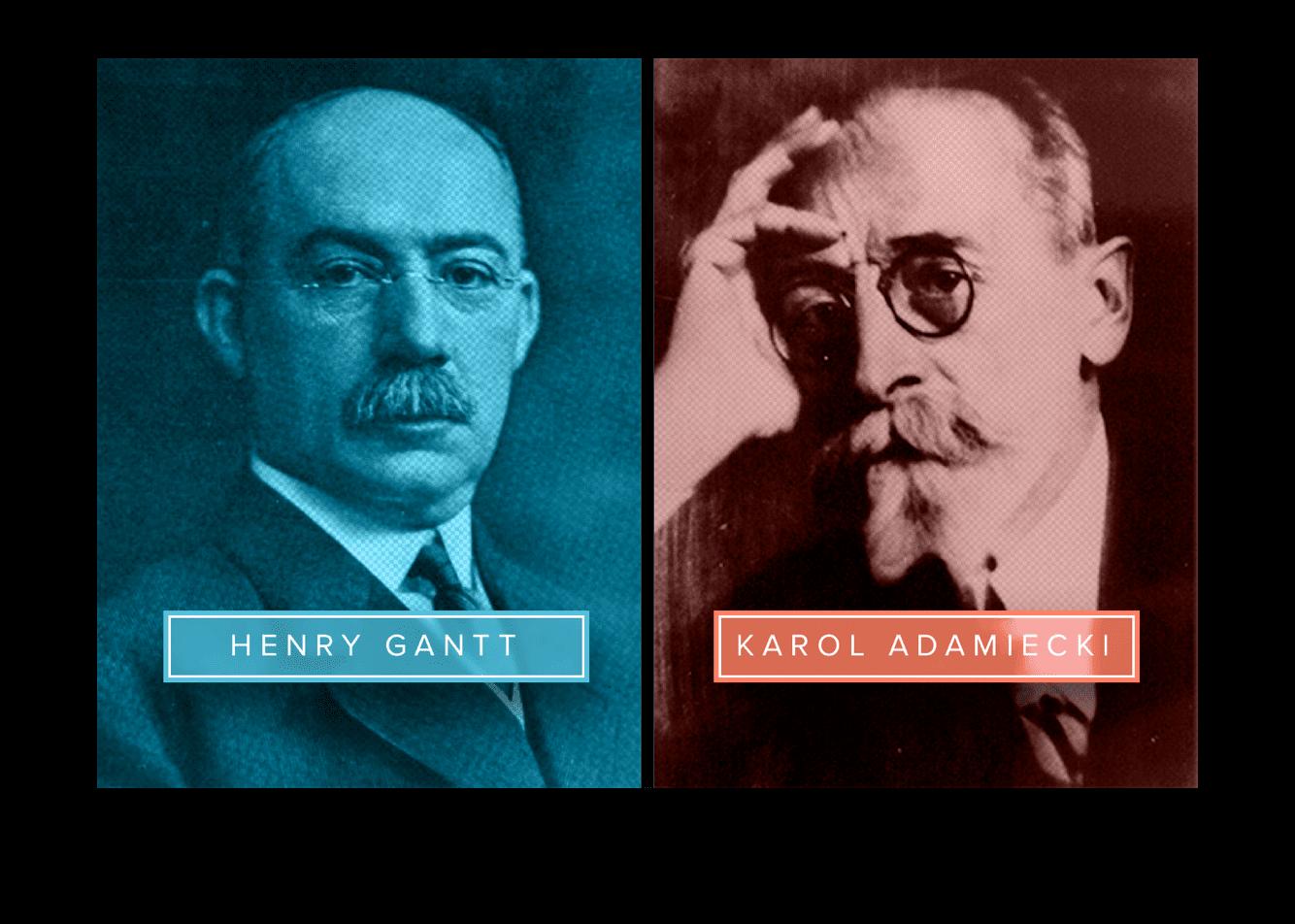 Side-by-side photos of Henry Gantt and Karol Adamiecki