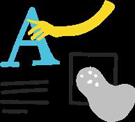 Illustration of a designer designing