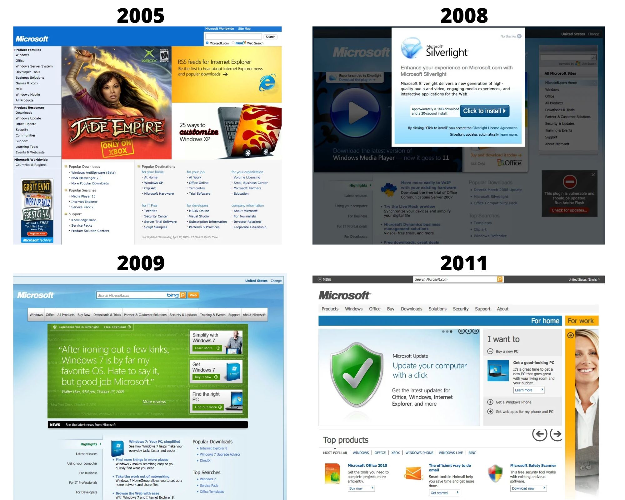 Microsoft design 2005 to 2011