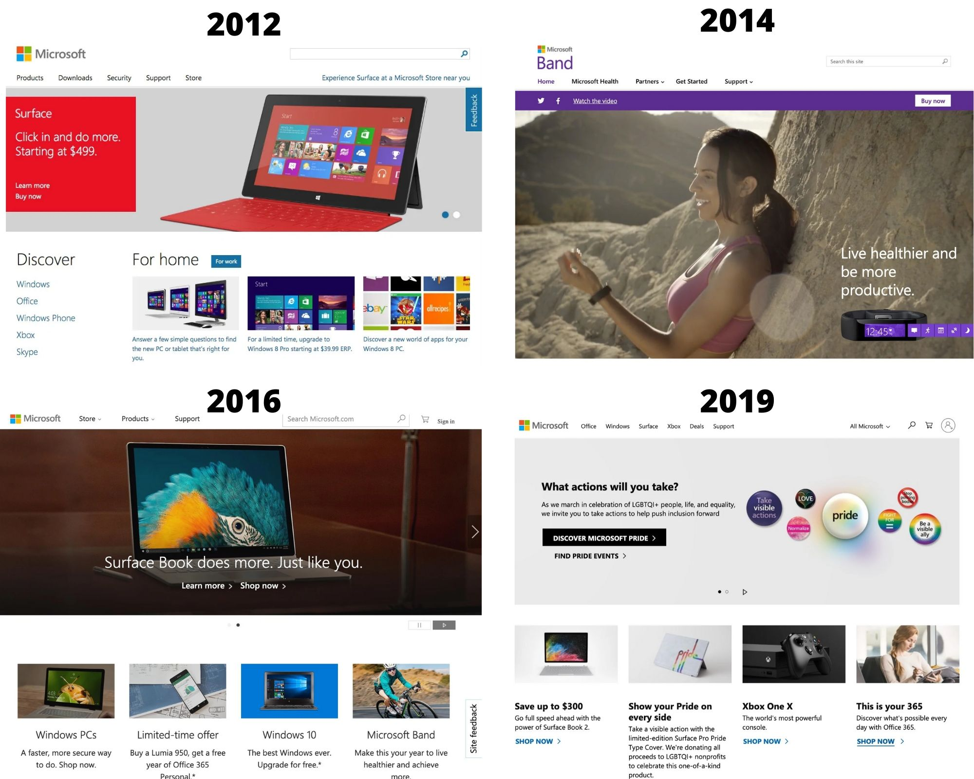 Microsoft design 2012 to 2019