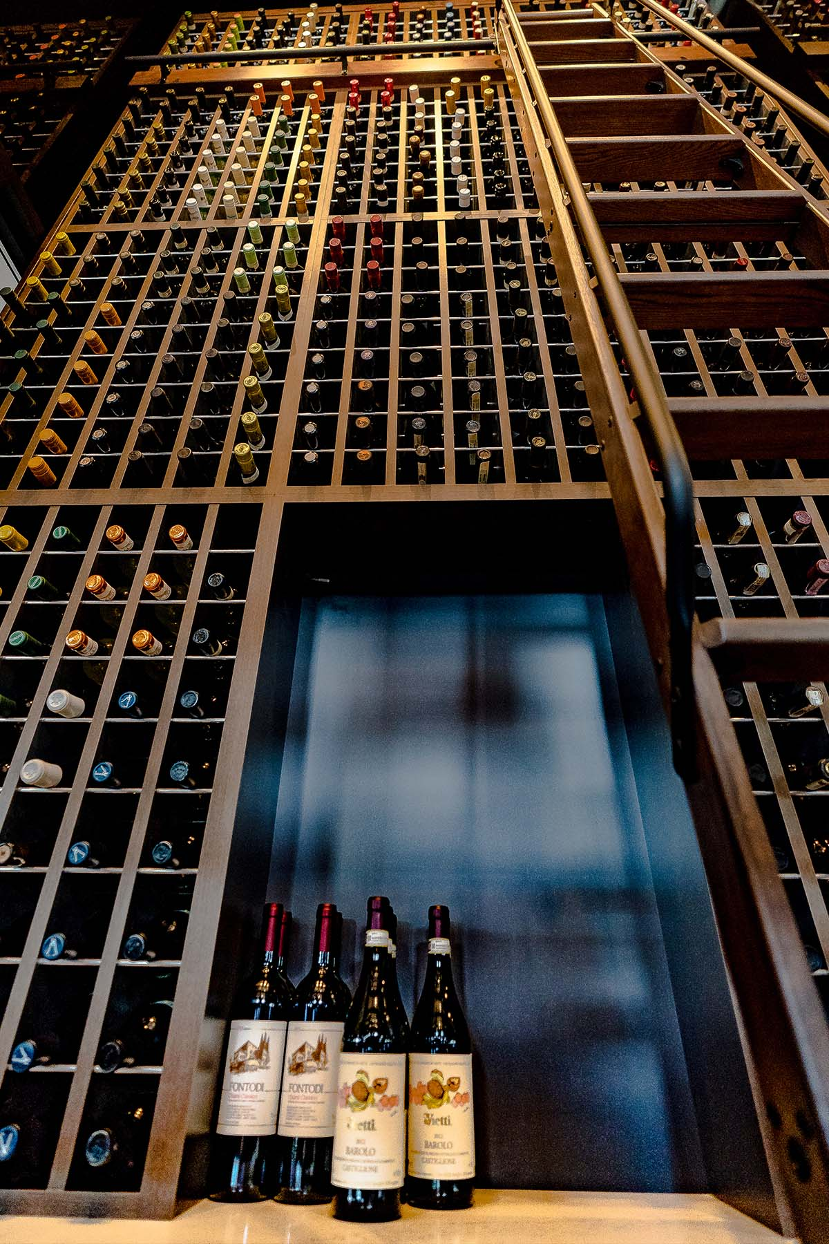 Allora's 22 foot wine cellar