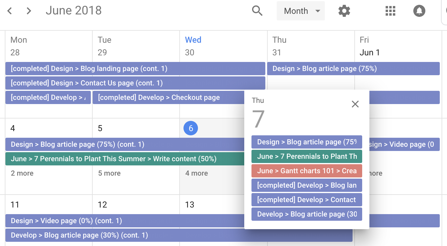 TeamGantt projects synced into Google Calendar