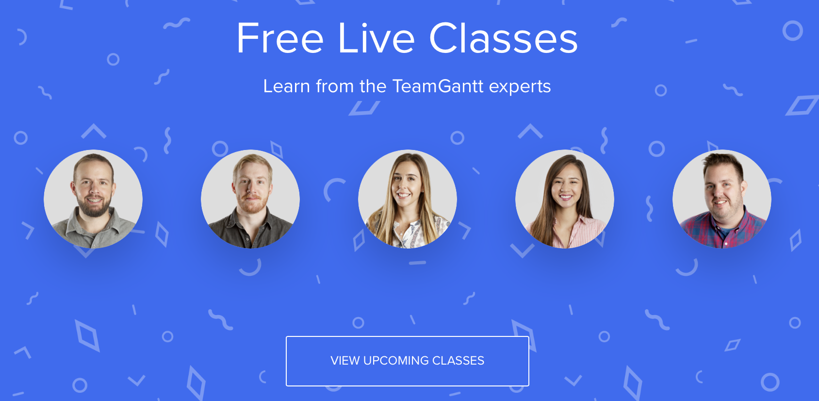 TeamGantt support register for classes screenshot