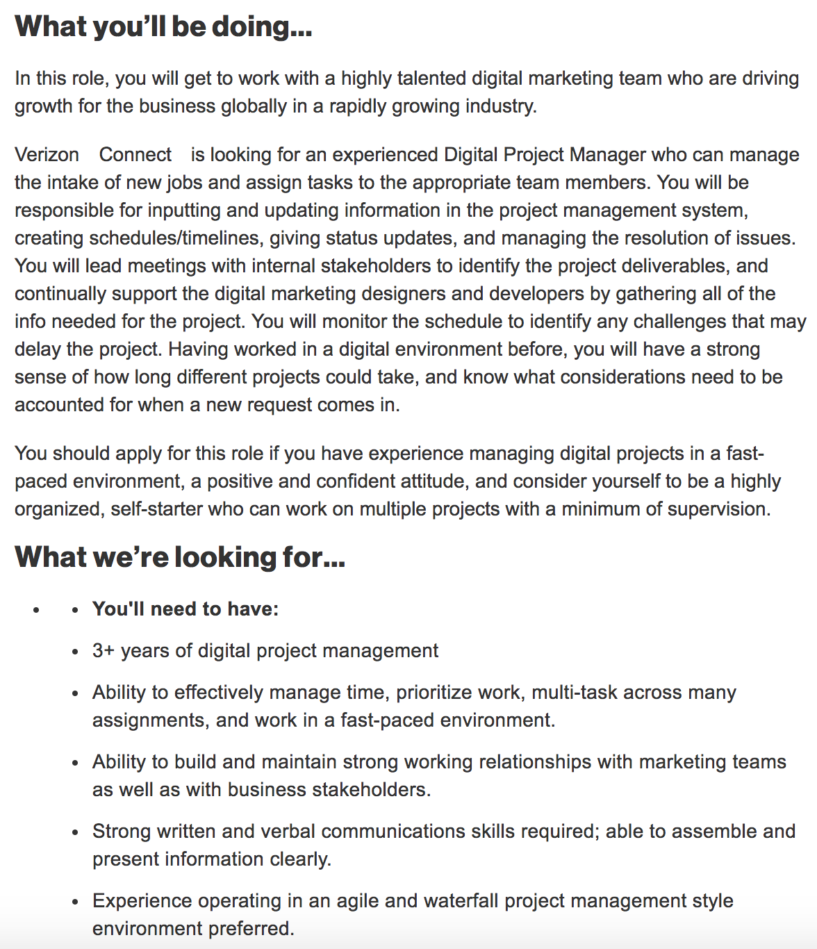 Example of a digital project manager job description