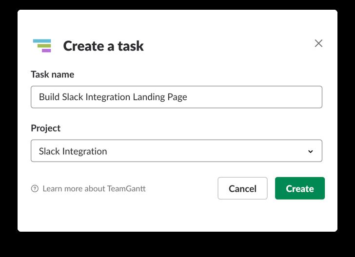 Creating a new TeamGantt task using slash commands