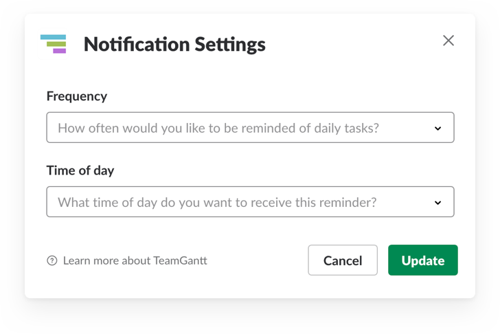 Configuring your TeamGantt for Slack notification settings
