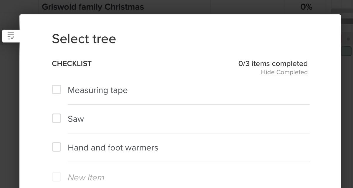 Example of a smaller to-do list for a task using TeamGantt's checklist feature