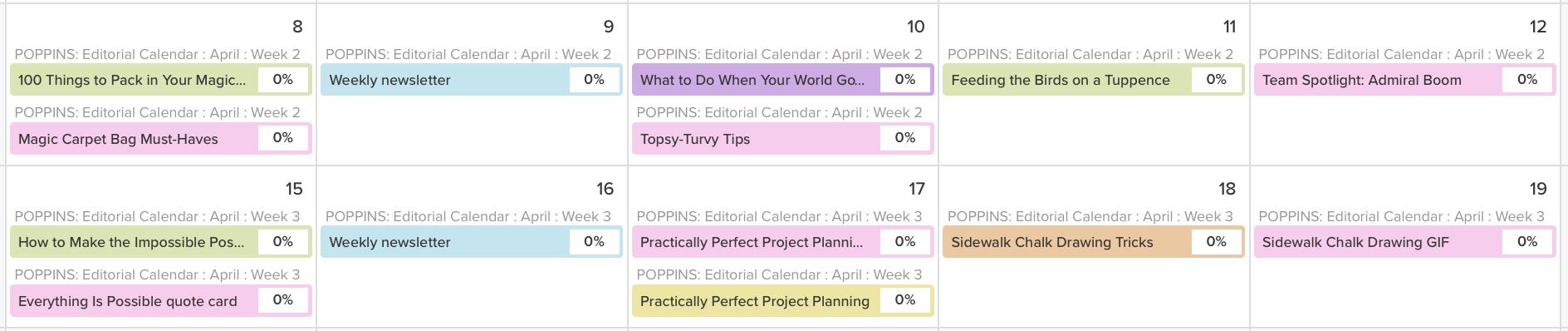 editorial calendar content types