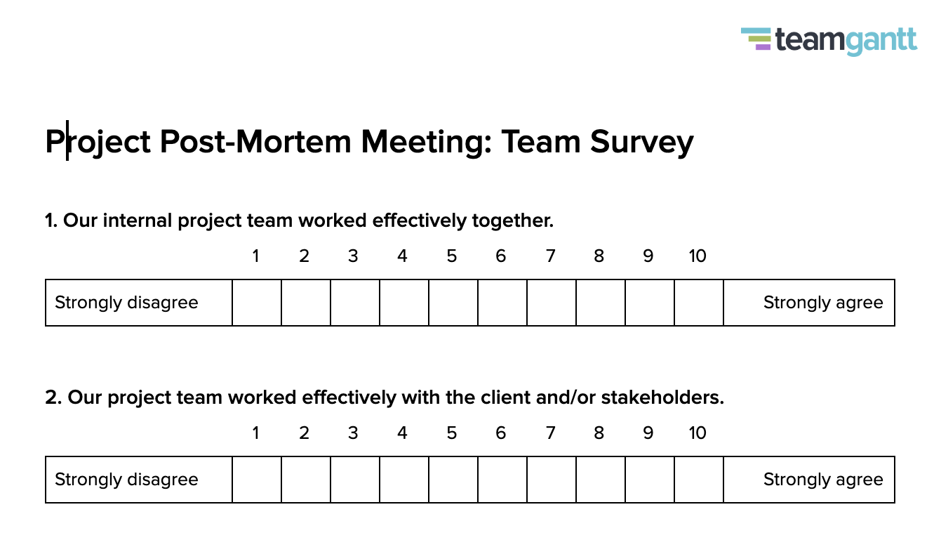project post-mortem team survey template