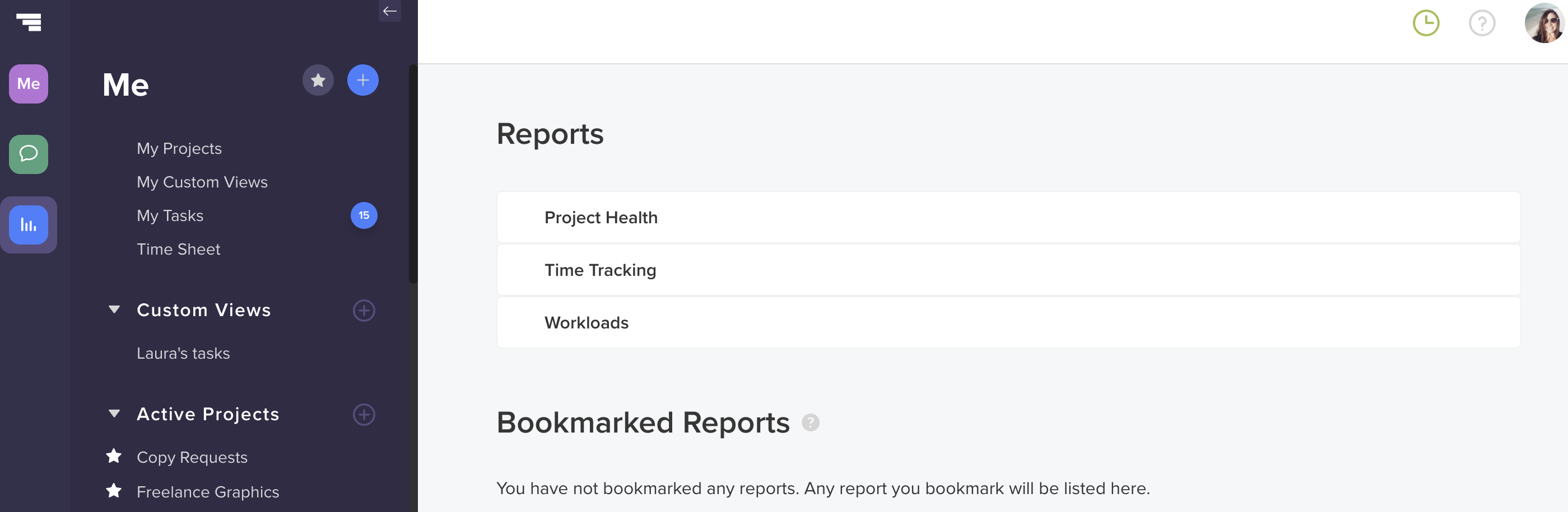 screenshot of new TeamGantt Reports page with Project Health Report, Time Tracking, Workloads, and Bookmarked Reports