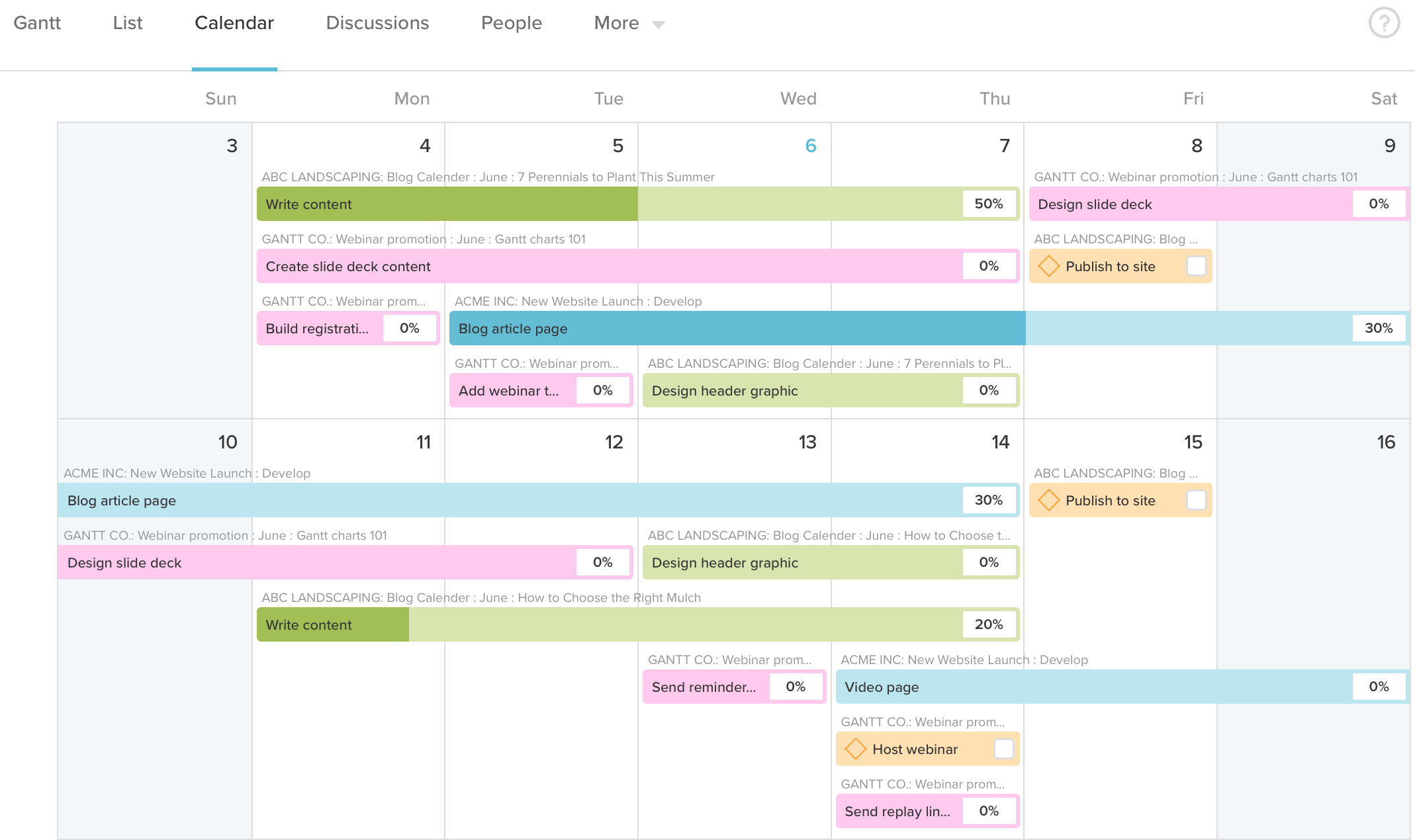 Calendar view of project in TeamGantt