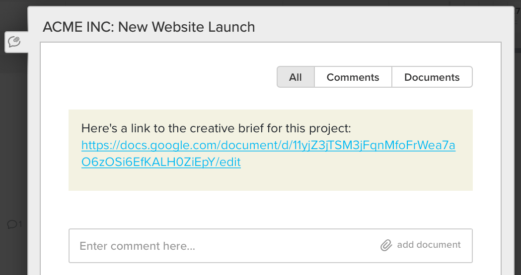 screenshot example of how to add a link to the creative brief link document to project notes in TeamGantt