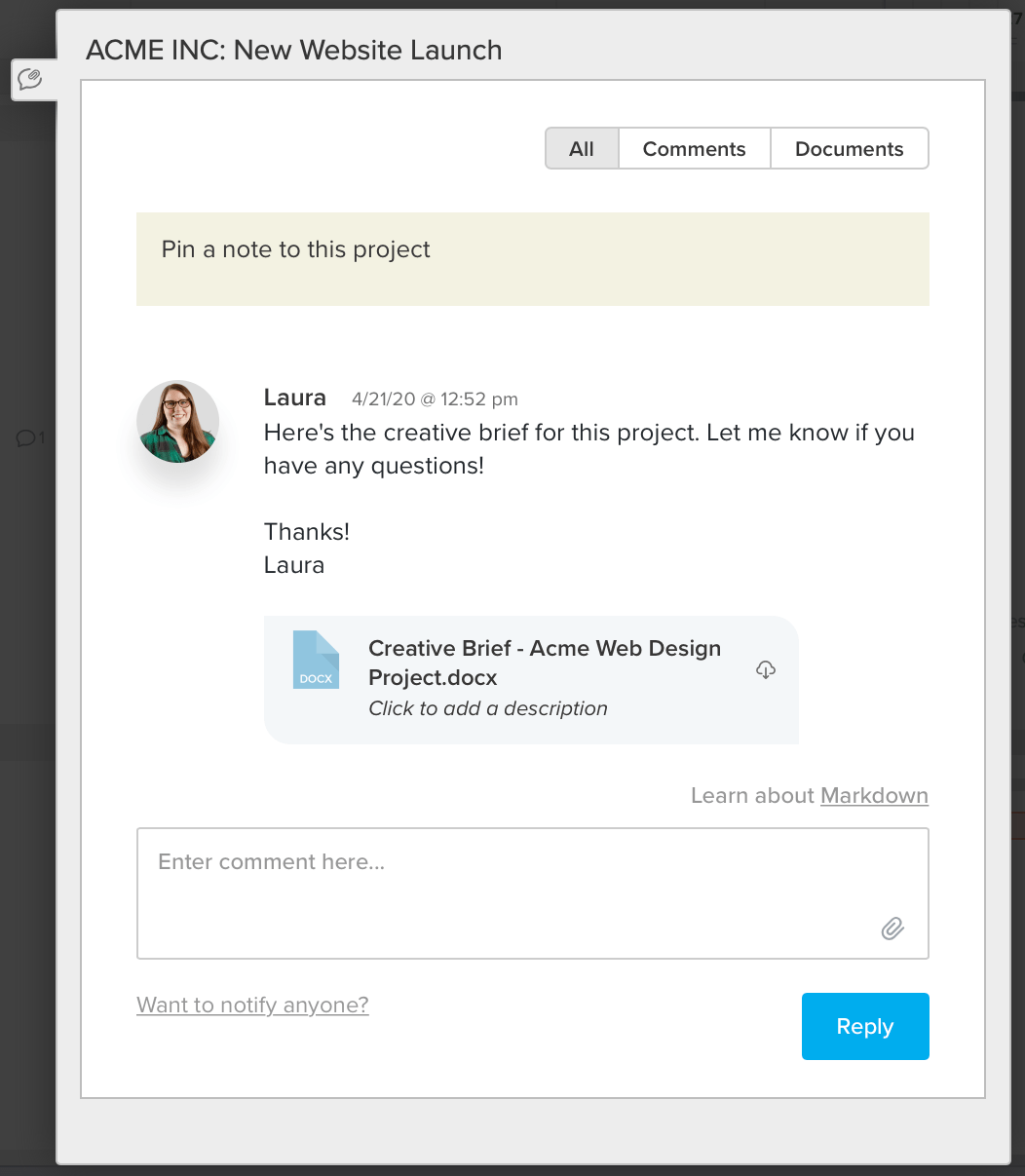 screenshot example of how to upload a creative brief document to project comments in TeamGantt