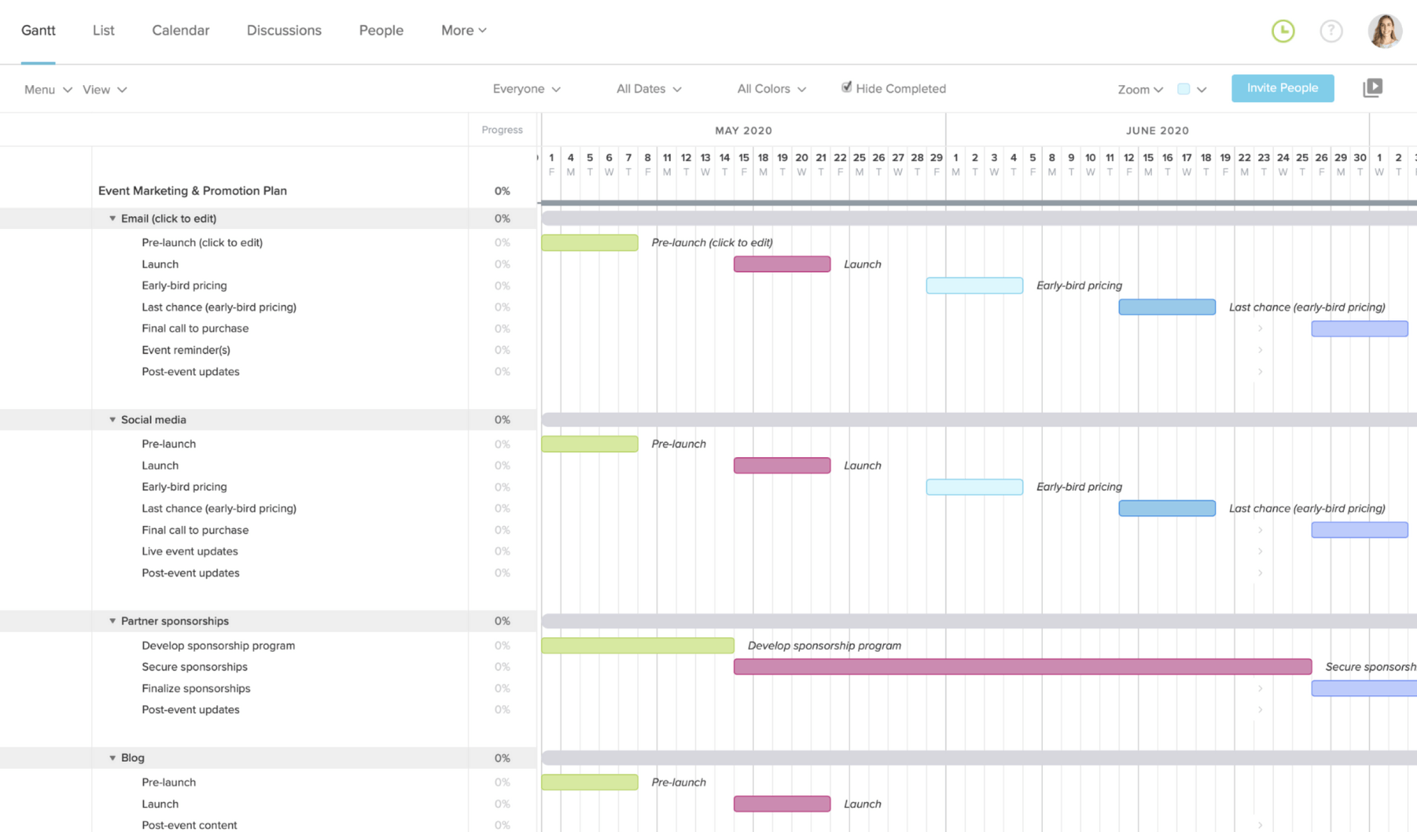 screenshot of event marketing and promotion gantt chart template