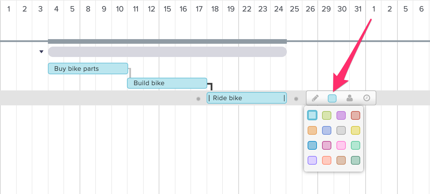 screenshot of how to assign task colors in TeamGantt