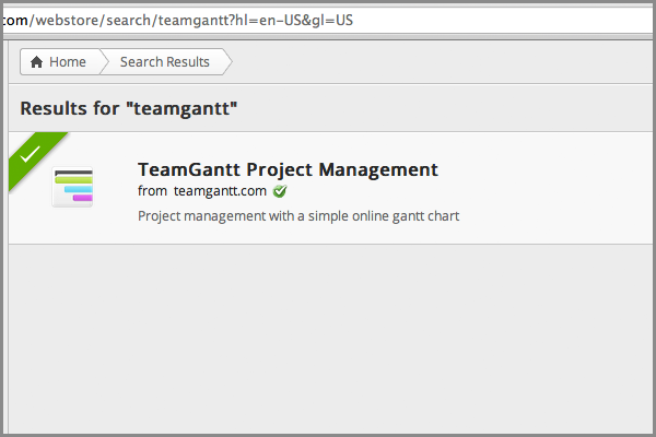 TeamGantt project management in Chrome web store