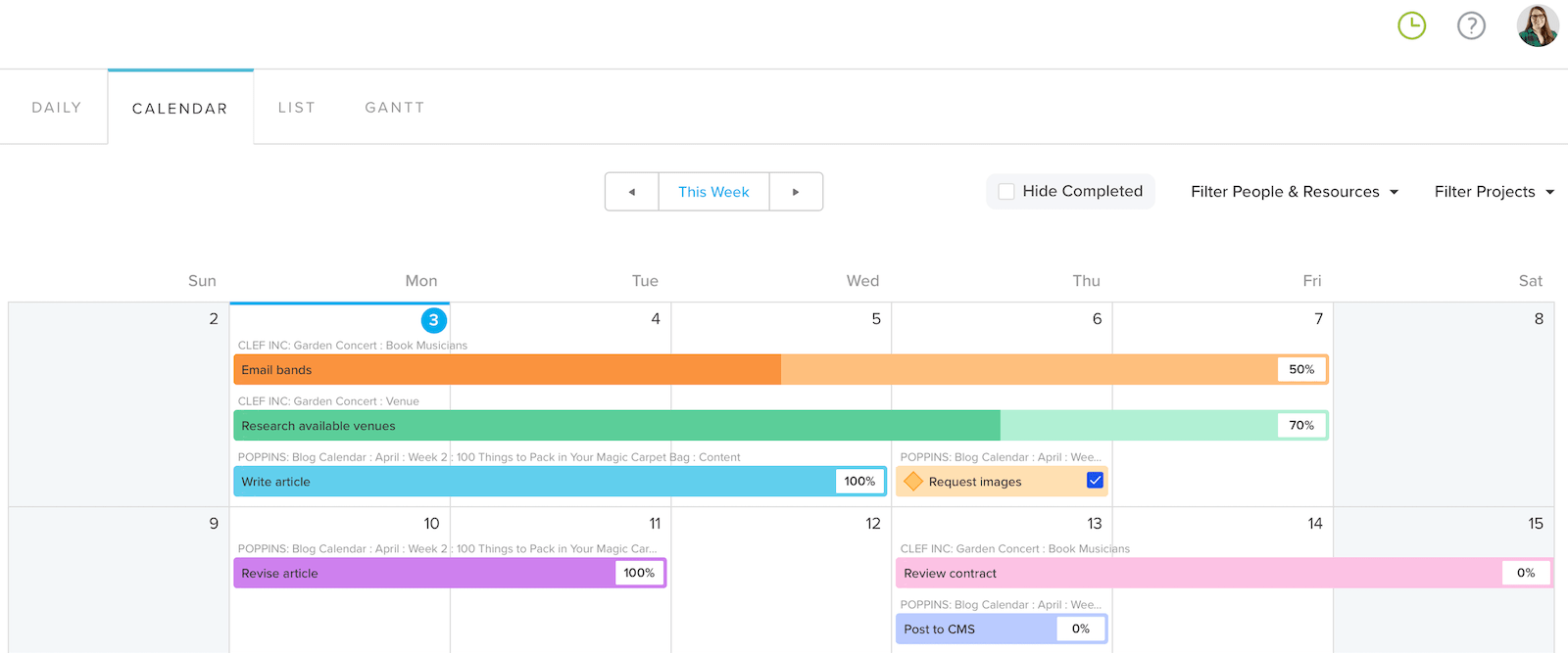 My Calendar view weekly task list feature in TeamGantt