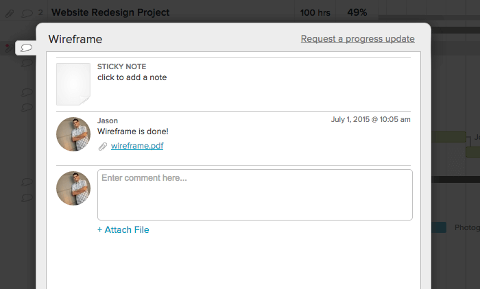 comments interface for uploading files