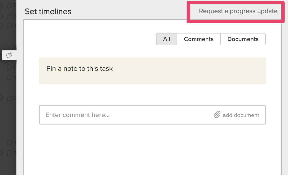 """Discussion window in TeamGantt with the """"Request a progress update"""" link highlighted"""