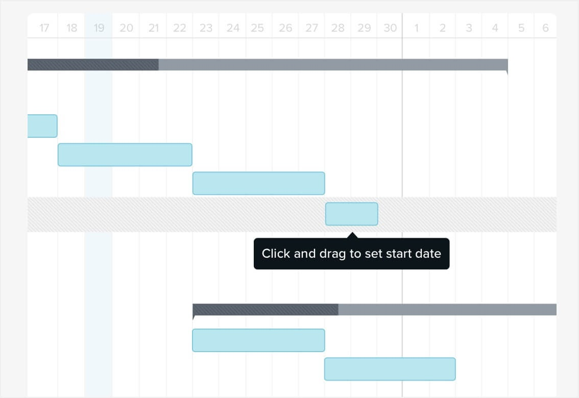 Gantt chart with drag and drop scheduling feature highlighted