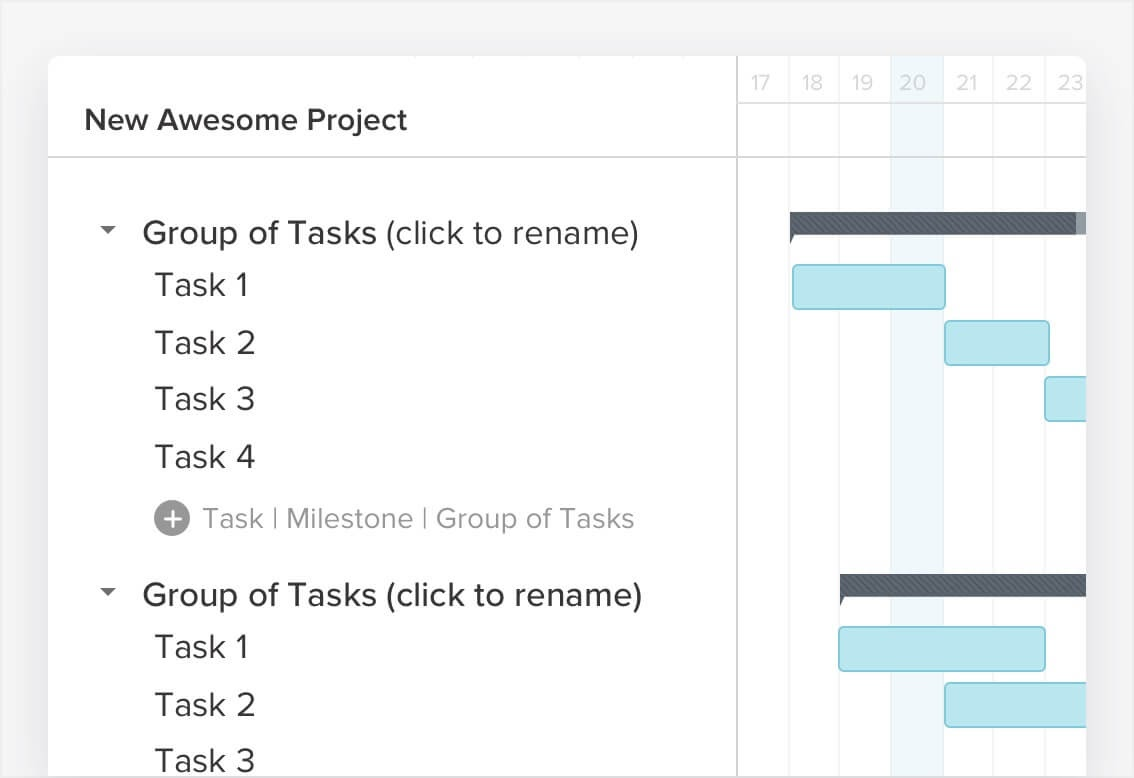 Adding tasks to a new project in TeamGantt