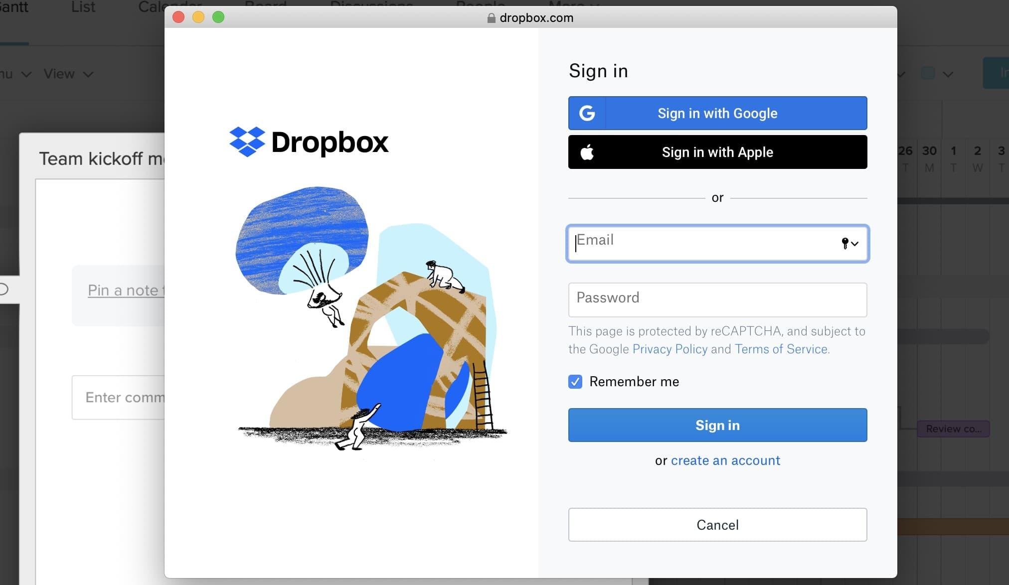 TeamGantt screenshot of Dropbox integration login screen