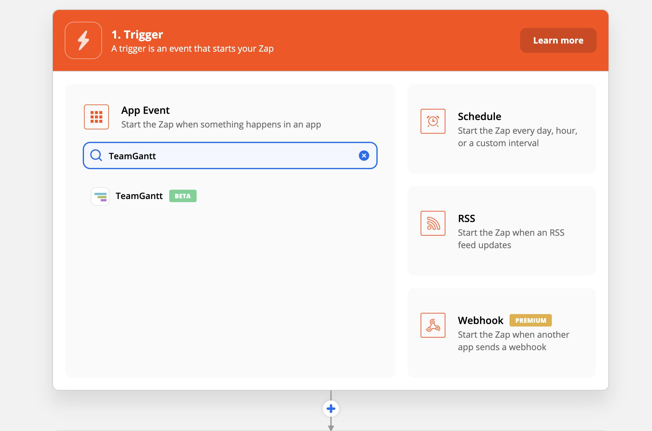 Activating the TeamGantt integration in Zapier