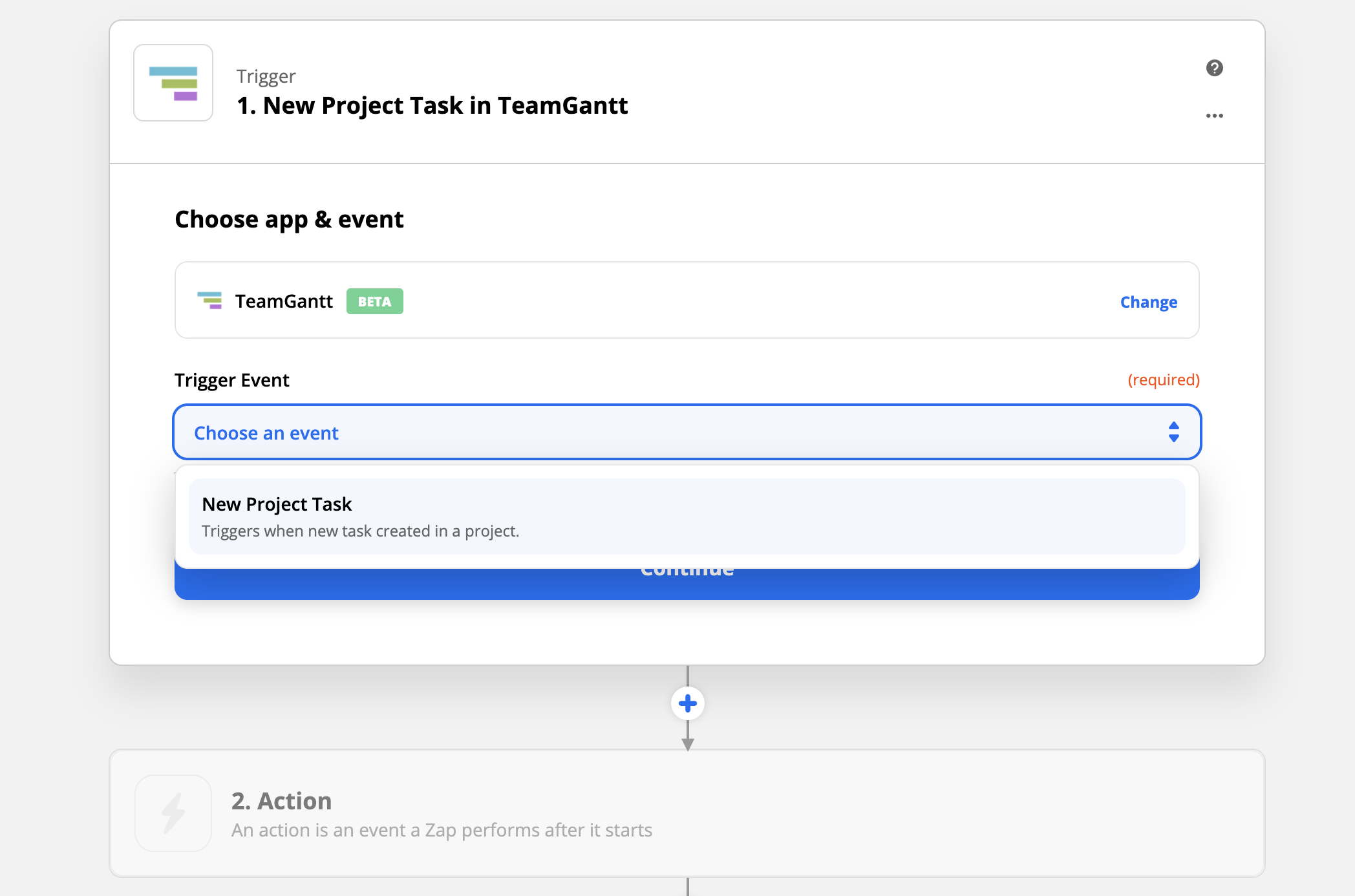 Select the New Project Task trigger event for TeamGantt's Zapier integration.