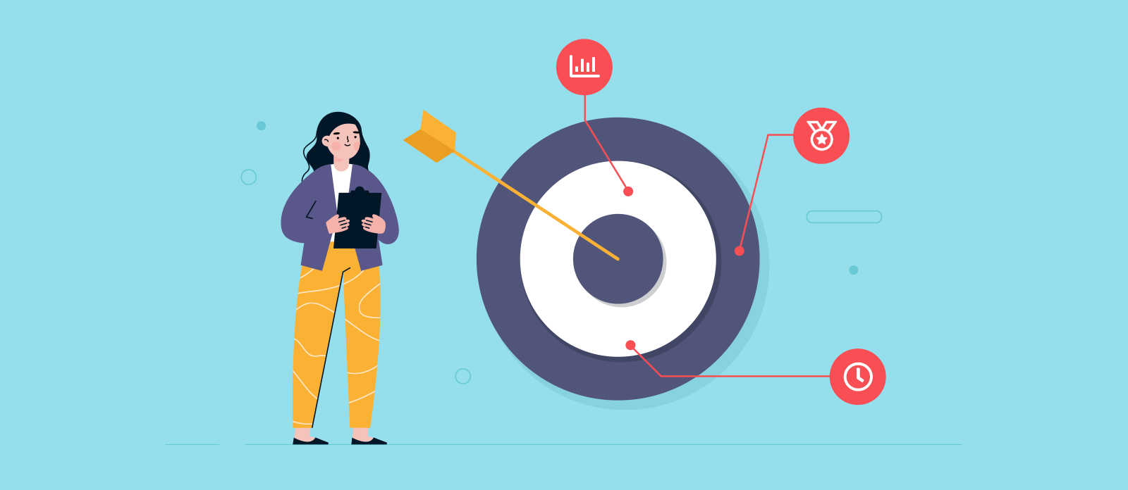 Illustration of a woman standing next to a target with SMART goal icons represented as arrows