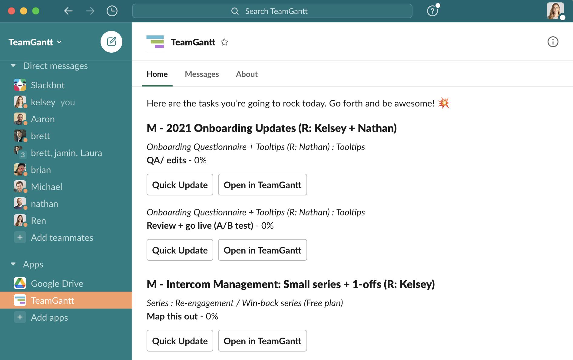 TeamGantt Slack integration home tab showing daily task list