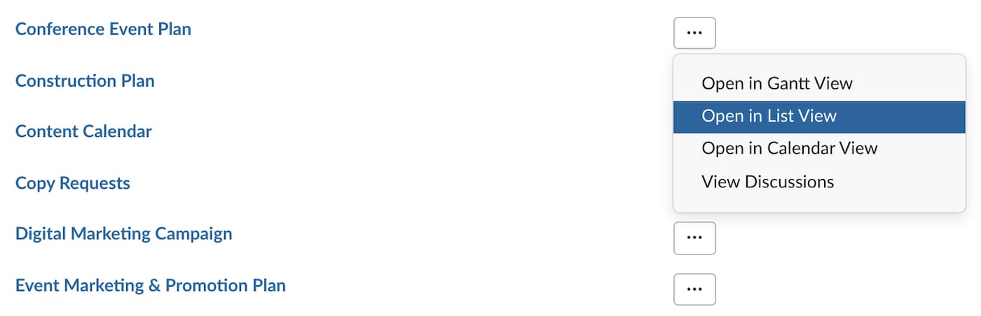 TeamGantt integration for Slack with project options listed