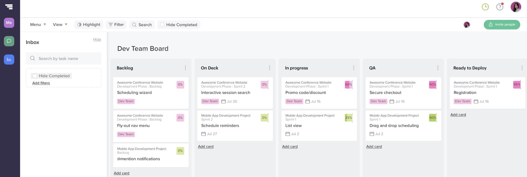 Custom kanban board in TeamGantt for managing Agile sprints in a hybrid project plan