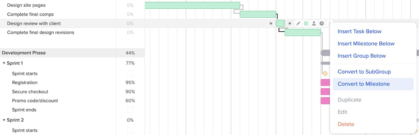 Example of how to change a task to a milestone in the gantt chart using TeamGantt
