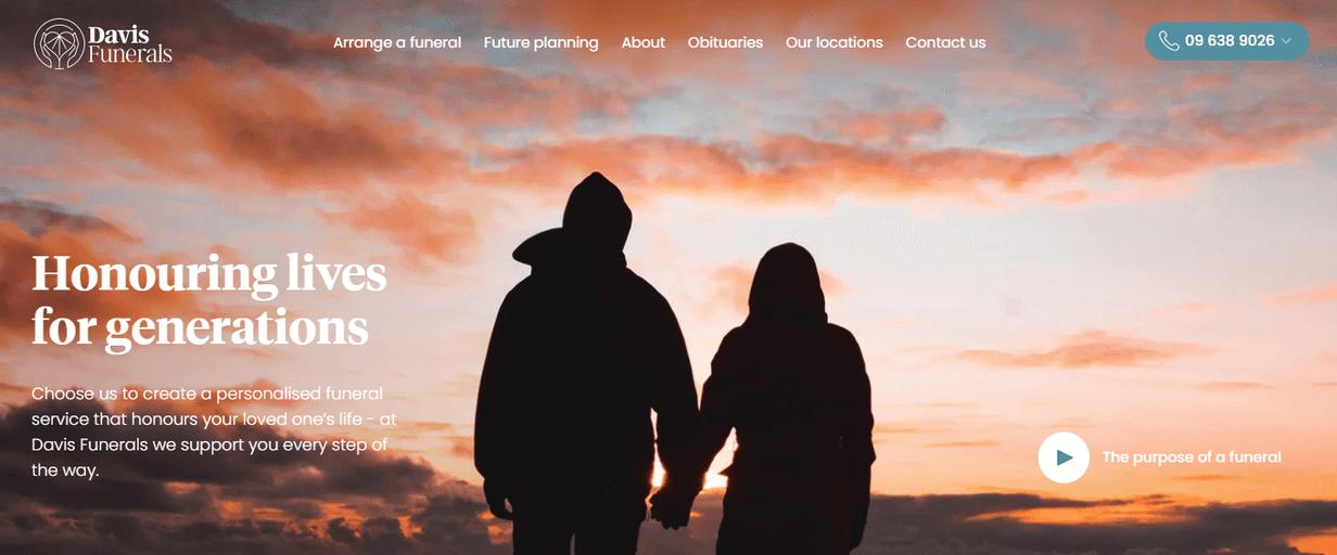 Davis Funerals website copy - Sarah Idle