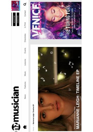 NZ Musician Magazine - Review for: Marianne Leigh: Timeline EP - Karyn Van Dam