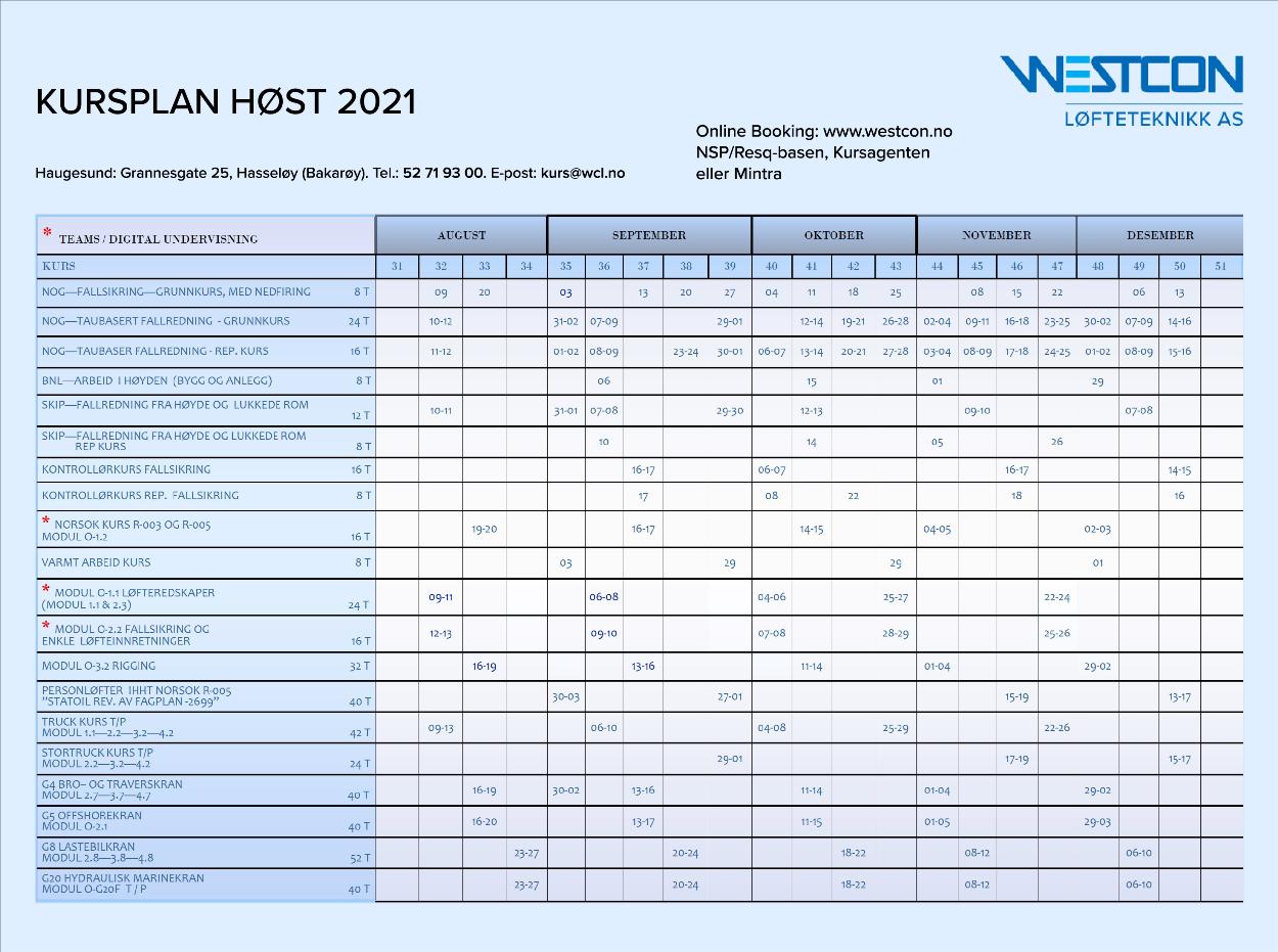 Kursplan høst 2021