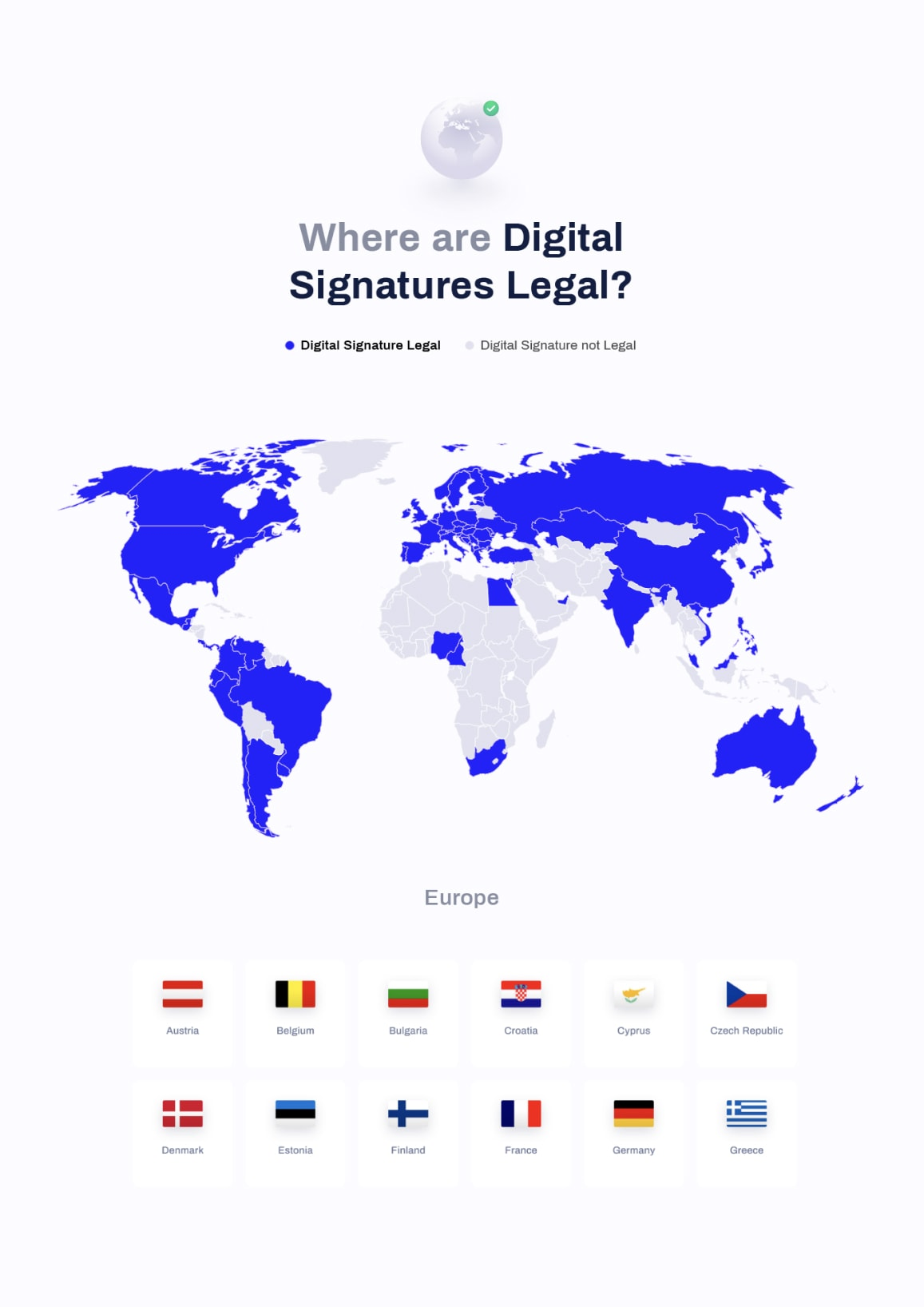 Map showing the legality of digital signatures in the entire world