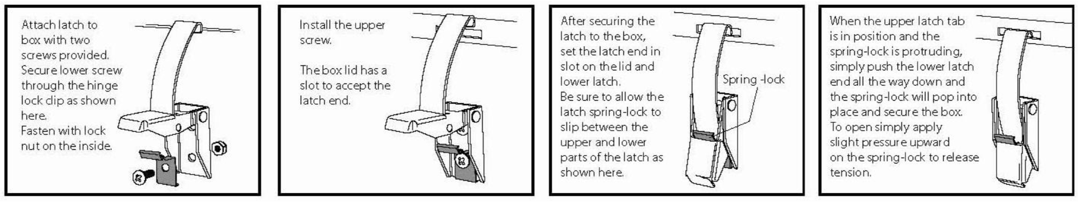 Attach latch to the box with two screws provided. Secure lower screw through the hinge lock clip as shown. Fasten with lock nut on the inside. Install the upper screw. The box lid has a slot to accept the latch end. After securing the latch to the box, set the latch end in slot on the lid and lower latch. Be sure to allow the latch spring-lock to slip between the upper and lower parts of the latch as shown. When the upper latch tab is in position and the spring-lock is protruding simply push the lower latch end all the way down and the spring-lock will pop into place and secure the box. To open simply apply slight pressure upward on the spring-lock to release tension.