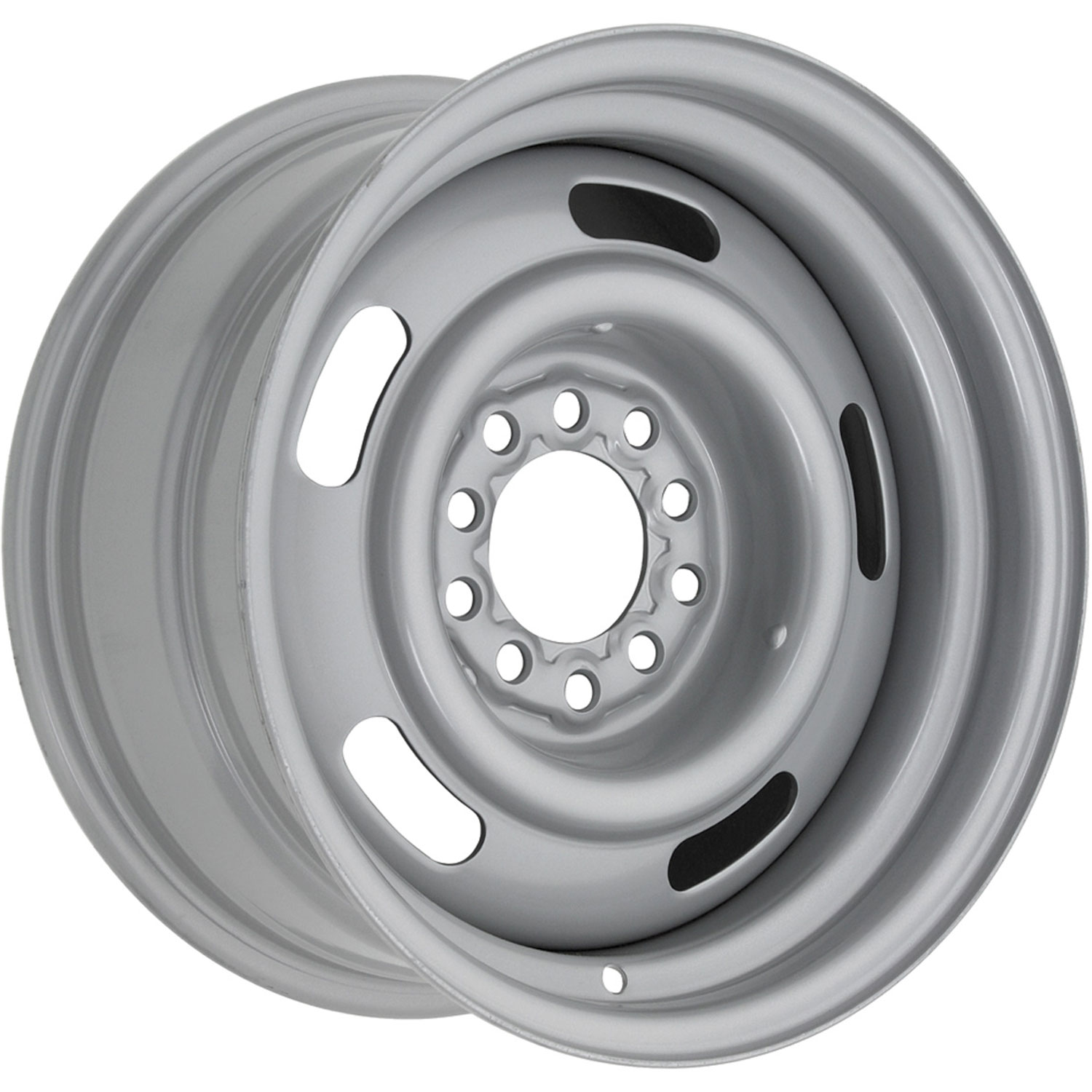 Silver rally wheel manufactured by restroparts