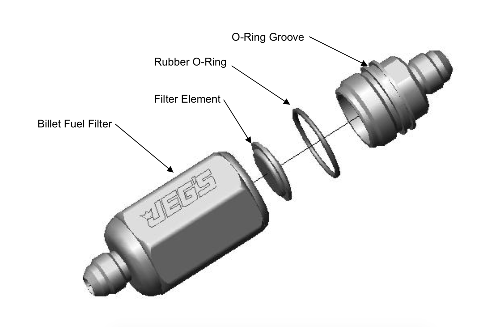 diagram showing billet fuel filter parts